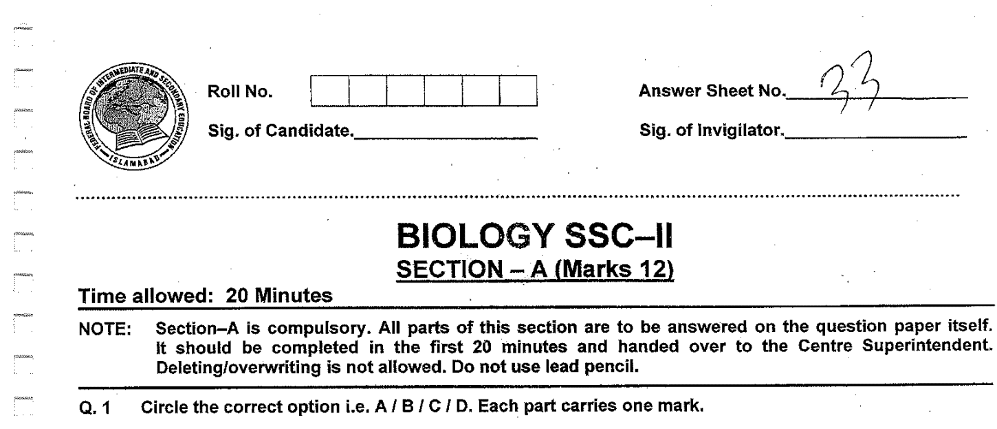 Biology MCQs for Class 10