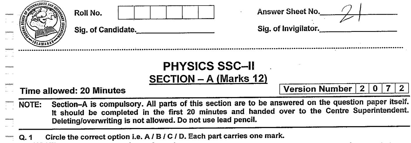 Physics MCQs for Class 10