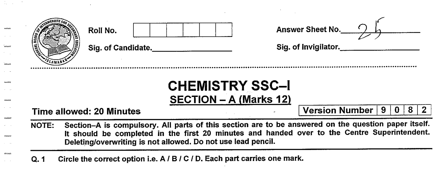 Chemistry MCQs for Class 9
