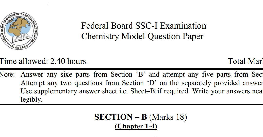 Chemistry 9 Solved Model Paper 2020